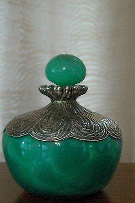 Antique German Perfume/Scent bottle with etched Silver overlay/ signed