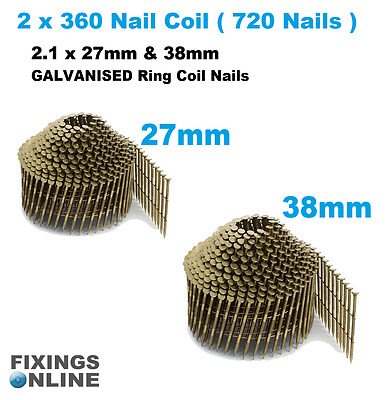 Coil Nails (conical)Galvanised 2.1 g x 27mm & 38mm  (2 x coils 720 nails)