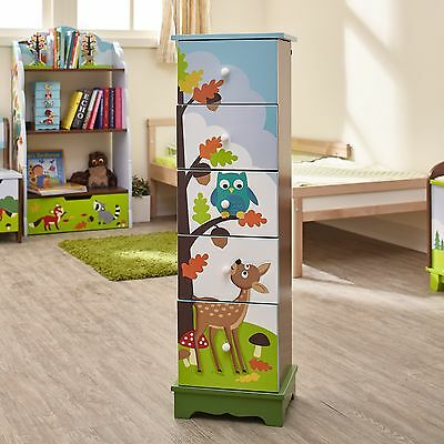Childrens Enchanted Woodland theme Wooden 5 Drawer Storage Unit Cabinet for Kids