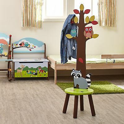 Fantasy Fields Childrens Enchanted Woodland High Back Kids Stool with Coat Rack