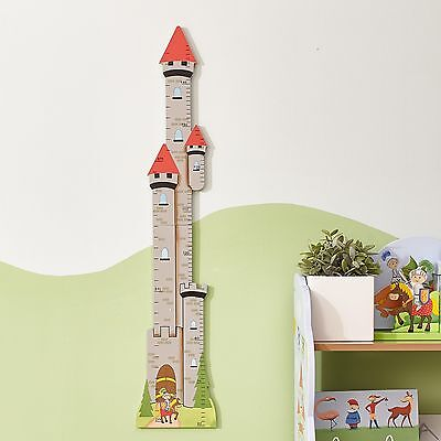 Childrens Knights & Dragon themed Kids Wooden Wall Mounted Growth Height Chart