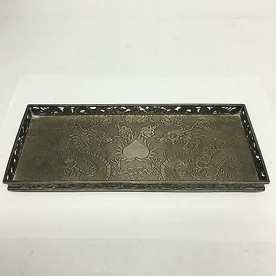 Antique Solid Silver Chinese Wang Hing Galleried Tray Dragons Flaming Pearl 23cm