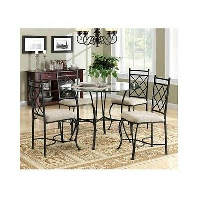 Glass Top Dining Set Table Chairs Kitchen Dinette Furniture Decor 5-Piece Family