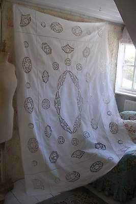 Very large antique white linen & handmade needle lace tablecloth, pure linen