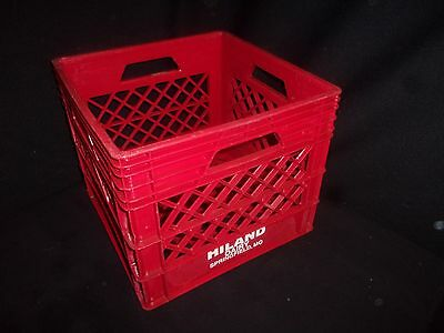 Vintage Hiland Dairy Red Plastic Milk Crate - Springfield MO