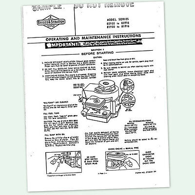 BRIGGS AND STRATTON 3hp ENGINE 80900 to 80996 OPERATING MANUAL OPERATORS POINTS