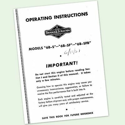 Briggs And Stratton 6B-Sfb Engine Operators Repair Manual Service Owners & Bs
