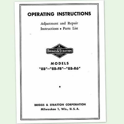 Briggs And Stratton 8B-Fb Engine Operators Repair Manual Service Owners Bs &