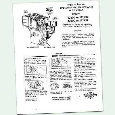 BRIGGS AND STRATTON 6hp ENGINE 142300 to 142497 OPERATING MANUAL OPERATORS point