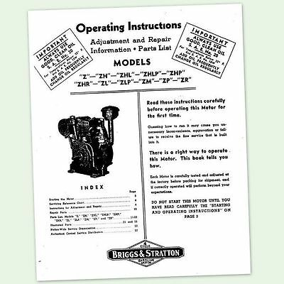 Briggs And Stratton Model Zm Zp Zr Engine Operators Owners Maintenance Manual Bs