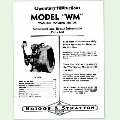 Briggs And Stratton Model Wm Engine Operating Repair Manual Owners Service Bs &