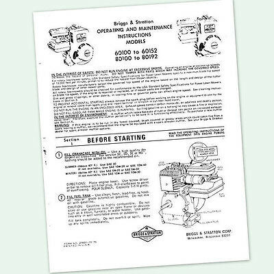 BRIGGS AND STRATTON 2.5hp ENGINE 80100 to 80192 OPERATORS MANUAL OPERATING POINT