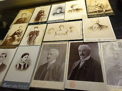 A lot of 14 CDV Cabinet Antique Photo Portraits