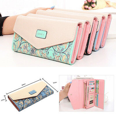 US Women Girl Leather PU Bifold Wallet Clutch Card Holder Purse Long Handbag New