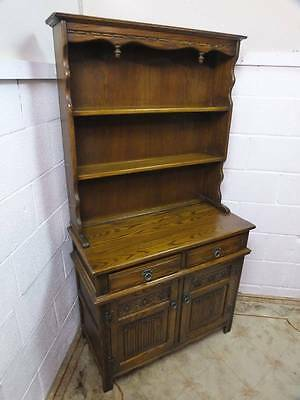 Old Charm Light Solid Oak Narrow Carved Dresser, 2 Drawers Over  Cupboard.