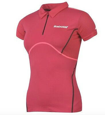 Babolat Ladies Tennis Sport Polo Shirt Red Pink All Sizes NEW WITH LABEL
