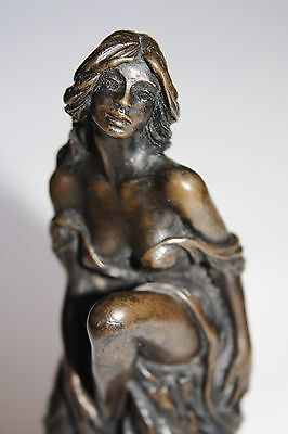 John Letts Bronze/ Resin Sculpture Of a Lady On a Rock.