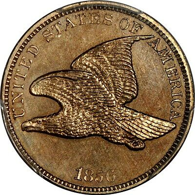 1856 Low Leaves Rev. 1C Snow 4 Flying Eagle Cent PCGS PR63 (CAC/PHOTO SEAL)