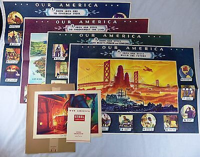 """Vintage WWII 1943 Coca-Cola """"Our America"""" Teacher's Kit """"Steel"""" Set of 5 Posters"""