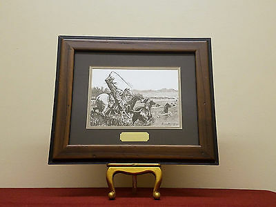 "Frederic Remington ""A Deep Ford"" Authentic Lithograph Painting in Handmade Frame"