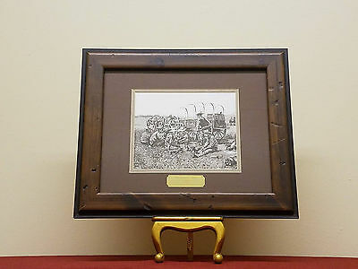 """Frederic Remington """"Midday Meal"""" Lithograph Painting in Handmade Frame"""