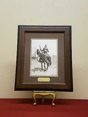 """Frederic Remington """"US Cavalryman"""" Painting Lithograph in Handmade Frame"""