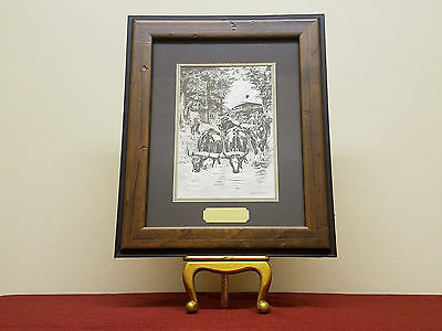 """Frederic Remington """"Thirsty Oxen"""" Painting Lithograph in Handmade Frame"""