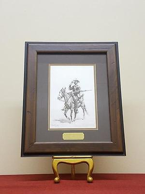 """Frederic Remington """"Mounted Infantryman"""" Lithograph Painting in Handmade Frame"""