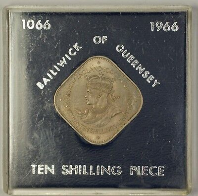 1966 Bailiwick of Guernsey 10S Ten Shilling Coin in Hard Plastic Holder