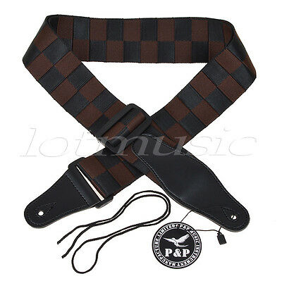 Acoustic Electric Guitar Strap Woven Black Brown Checkerboard Nylon Leather End