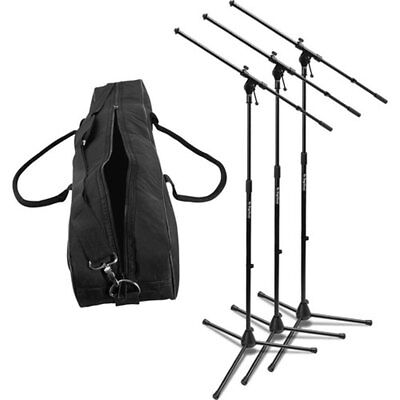 On-Stage MSP7703 Three Euroboom MS7701B Tripod Boom Microphone Stands with Bag