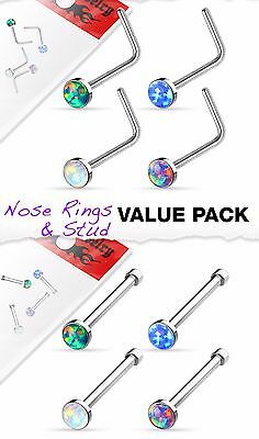 4pcs Value Pack Synthetic Opal Set 20g Steel Nose Rings - choose Studs or L-Bend