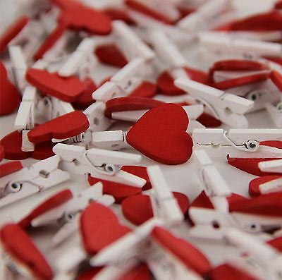 Mini Wooden Pegs with Mini Red Hearts Craft Wedding Hanging Photo Clips Wooden