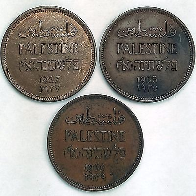 3 Coin Lot – Palestine One Mil Coins 1927, 1935, 1939