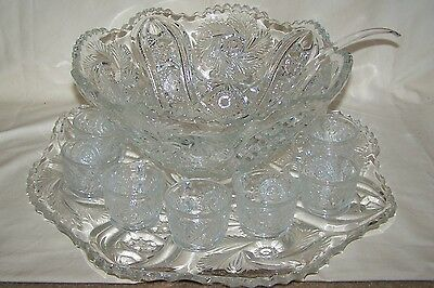 Vintage Very Detailed Large Glass Punch Bowl Set Underplate Cups Ladle Unknown