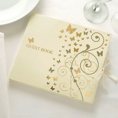 Ivory with Gold Butterfly Design Guest Book from Neviti FREE SHIPPING