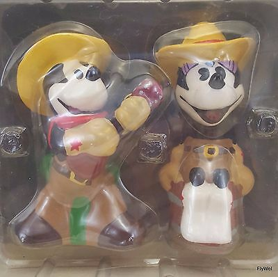 Disney Western Cowboy Mickey and Minnie Mouse Salt & Pepper Shaker Set
