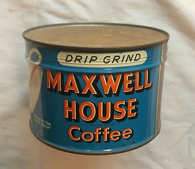 vntg MAXWELL HOUSE Key-Wind Coffee can NOS 1Lb USA twist tin sealed unopen drip
