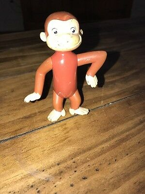 "Curious George 4"" PVC Figure Articulated Joints Stands  Used Condition"