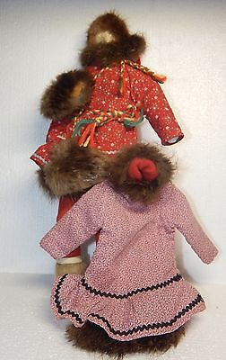 """Vintage Inuit Eskimo handmade Cloth Female art Doll with change of clothes, 14"""""""