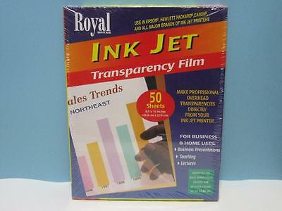 INK-JET-TRANSPARENCY-FILM-50-Sheets-8-5-x-11-inches-Royal-Brites-New-Sealed