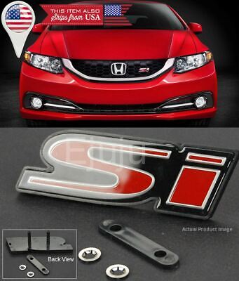 2pcs SI Grille Red Trunk Decal Sticker Car Metal Front Grill Badge Emblem for Honda Civic