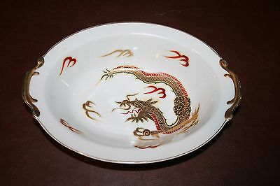 "Vintage Fine White China 10"" Japanese Moriage Dragonware Oval Serving Bowl"
