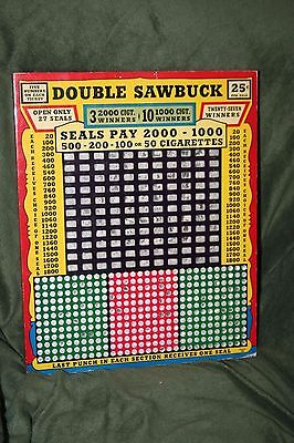 """Rare Large 14"""" Tall 25-Cent """"Double Sawbuck"""" 360 Hole Punch Board Serial #4694"""