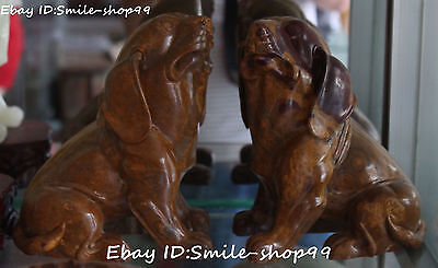 "8"" Chinese Stone Fengshui Zodiac Year Dog Doggie Doggy Hound Animal Statue Pair"