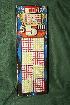 """Vintage 8"""" 25-Cent """"Hot Fins"""" 360 Hole Punch Board Serial #25832 Unpunched"""