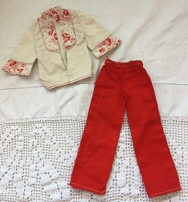 Vintage Ken Doll Best Buy Fashion 7226 Red Pants And Ivory Floral Top