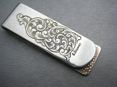 Sterling Silver 925  Hand Engraved Scrolls Money Clip Made in Italy