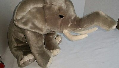"FAO Schwarz Elephant Gray Plush Stuffed Animal Toy Soft 21"" X 11"" Trunk up"