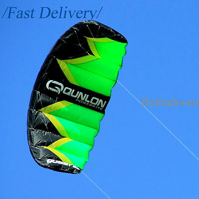 Green 2 Sqm Dual Line Sports Kite Power Traction Kite for Kiteboarding Buggying